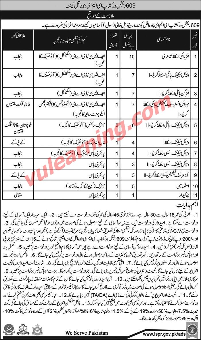 Gilgit-Baltistan Career, Educational & Social Forum: Pakistan Army Jobs 2018 at 609 Regional Workshop E...