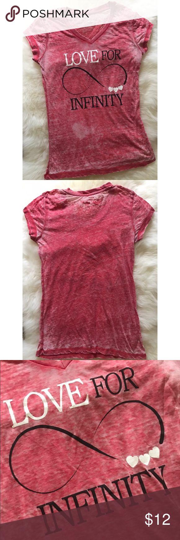 Red Short Sleeved Burnout Tee Red burnout short-sleeved (cap length)  tshirt. Longer length (below waist, almost to hips). Tops Tees - Short Sleeve