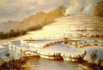 A drawing of the White Terraces