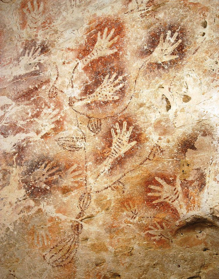 Paleolithic cave painting...Cave of Hands/Argentina...75000 BC