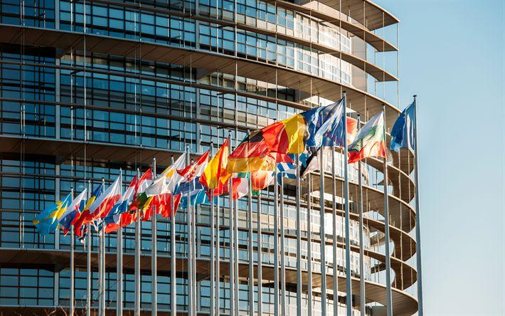 Download wallpapers European Parliament building, 4k, Brussels, Belgium, European Union, flags of the EU countries, modern buildings, European Parliament