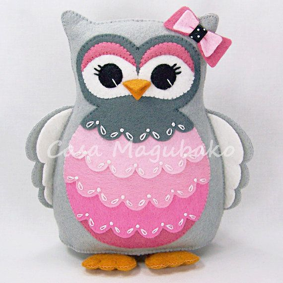 Felt Owl Pincushion Stuffed Animal Owl Soft Toy by CasaMagubako