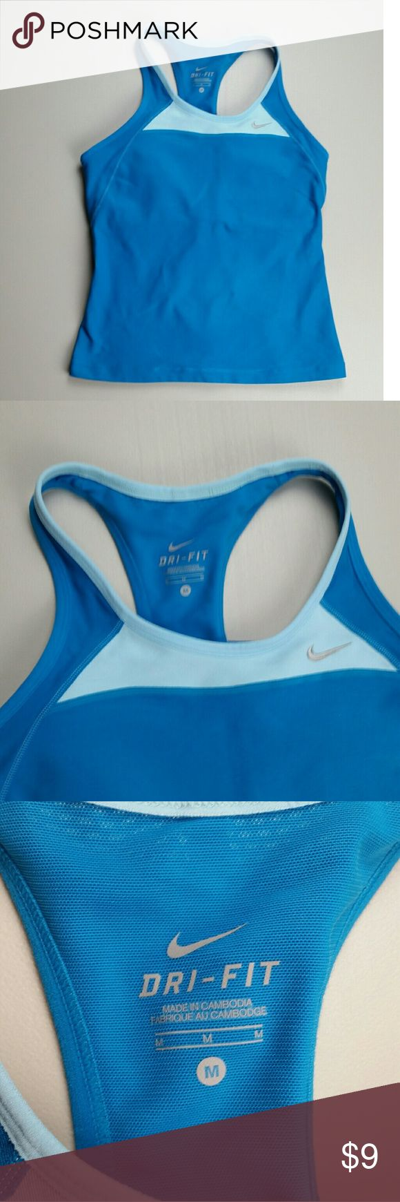 Nike tank top Women's Dri Fit Nike tank top with built in bar (shown in picture 5) size m blue Nike Tops Tank Tops