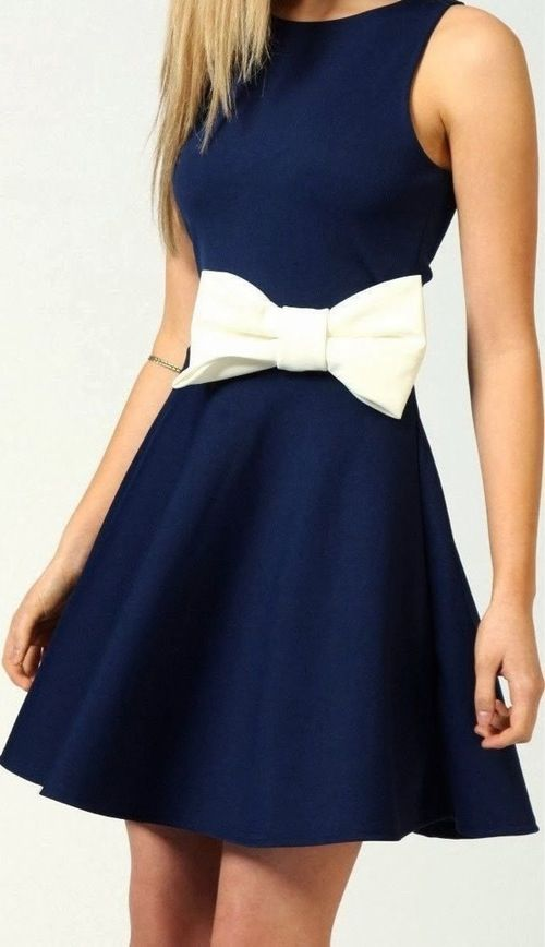 Cute navy blue dress with white bow