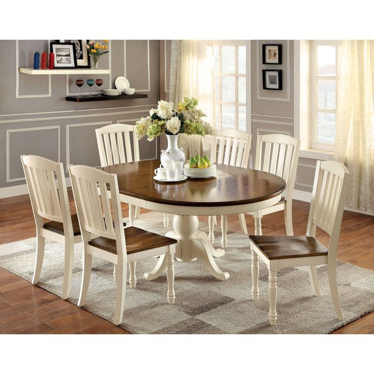 Have to have it. Furniture of America Besette Cottage 7 Piece Oval Dining Table Set - $1253.1 @hayneedle