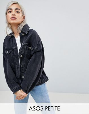 6050567be84 DESIGN Petite denim girlfriend jacket in washed black