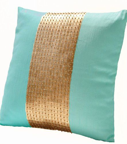 Amore Beaute Handmade Teal pillow covers- Teal gold color block in silk and sequin- Decorative throw pillow covers with sequin and bead embroidery- Sequin pillow covers- Couch pillows- Sofa pillows- Teal cushion with detailed hand embroidery- 16×16 pillow covers- Hand embroidered pillows- Art silk dupioni pillow covers- Toss pillows- Accent pillow cover- Teal cushion covers