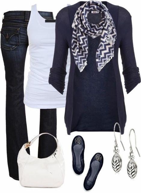 Blue cardigan scarf white blouse denim pants with purse