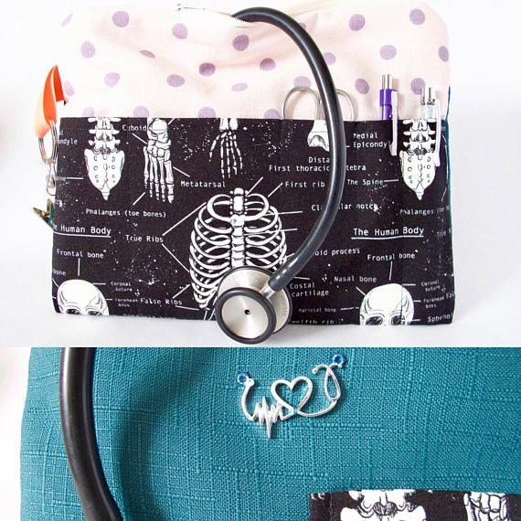 ANATOMY Stethoscope Bag. Nurse Bag. Nursing Student Gift. Xray