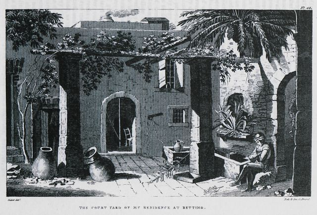 The courtyard of the author's residence at Rethymno. - SIEBER, Franz Wilhelm - TRAVELLERS' VIEWS - Places – Monuments – People Southeastern Europe – Eastern Mediterranean – Greece – Asia Minor – Southern Italy, 15th -20th century