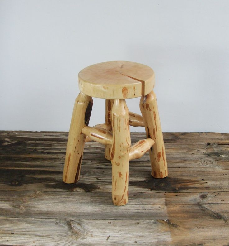 Wooden  birch log stool wood&blood