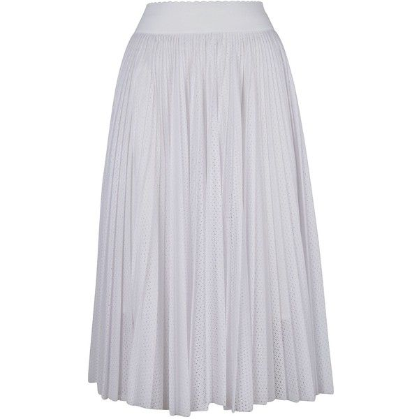 Perforated Pleated Skirt (35.380 RUB) ❤ liked on Polyvore featuring skirts, white, womenclothingskirts, white pleated skirt, givenchy, elastic waist skirt, givenchy skirt and mid length pleated skirt