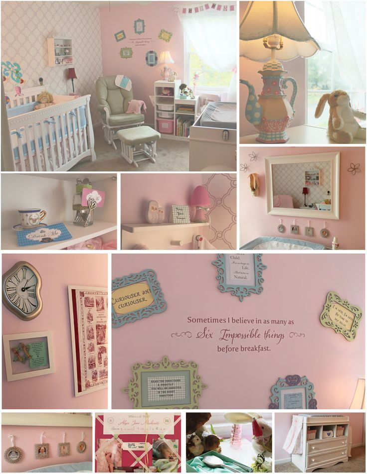 Alice in Wonderland Themed Nursery   AMAZON:  Crib Changing Table Night Stand Shadow Box Quote Decal  Pink Memo Board   BUY BUY BABY/3B:  Dutalier Reclining Rocker  Willow by Wendy Bellissimo Bedding Set Dali Wall Clock    IKEA:  Three Tiered Bookshelf & Bins Curtain  Large White Picture Frame Owl Shelf/Hooks   MICHAEL'S/HOMEMADE: Picture Frames and Quotes Flower Wall Decals  Ornament Picture Frames  Small White Picture Frame Pink Wicker Bins