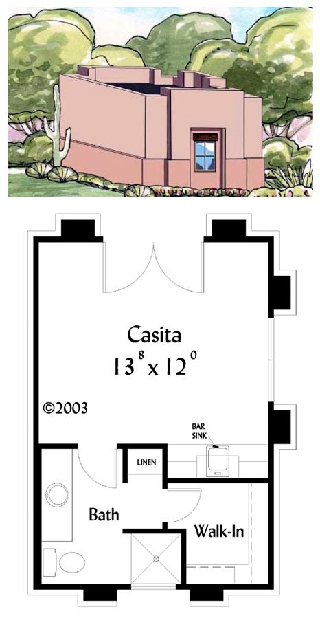 House Plan 71740 | Total living area: 301 sq ft, 1 bedroom