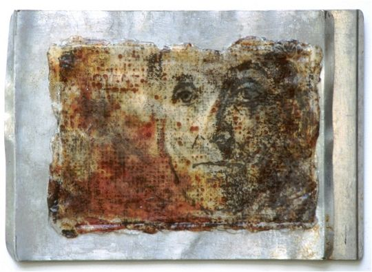 Sally Mankus : two pans rust, acrylic, photo transfer
