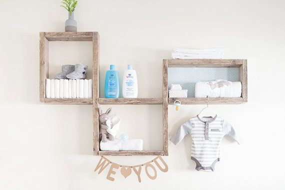 A contemporary shelf display design made from reclaimed weathered softwood.  This shelf would look great in your baby nursery, giving it just
