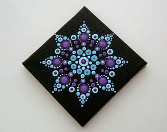 Mini mandala wall art- OOAK 3x3 canvas fine dot art-blue teal purple amethyst-pointillism-dottilism-aboriginal-hippie boho-yoga meditation