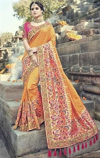 36e58875aa5db  Buy Heightened Orange Art Silk Jacquard  Designer Saree Pink Blouse  Online.  This Boutique Style  Heavy  Jacquard  Sari Blouse Acquires Half Sleeves And  ...