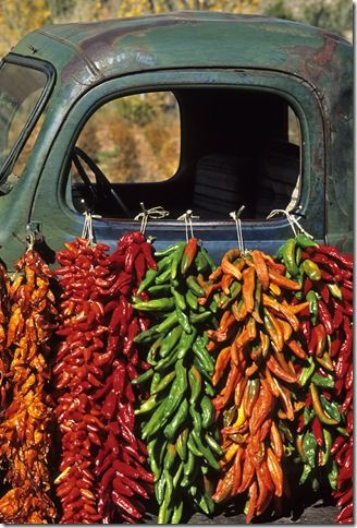 chile ristras...Southwestern staple: Vintage Trucks, Marketing In Mexico, Farmers Marketing, Chilis Peppers, Colors Chile, Chilli Peppers, Chile Ristra, Chile Peppers, New Mexico