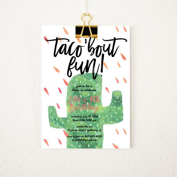 Fiesta Birthday Invitation Taco Birthday Party succulent birthday by littlewilddesign