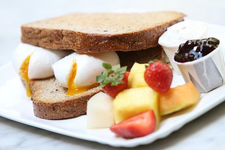 Breakfast eggs and homemade bread