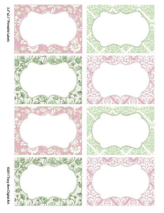 Damask Soft Pink and Sage Print your own Labels/Cards (Sarah)                                                                                                                                                                                 Mais