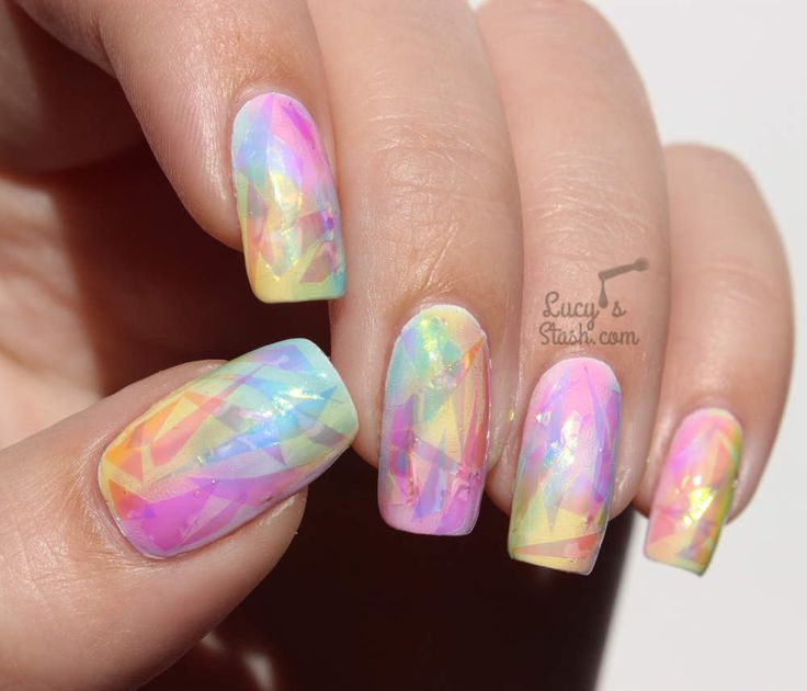 """These rainbow opal """"shattered glass"""" nails are the perfect accessory to any outfit! They'll have everyone begging you for your nail secrets ;) Repin and click for this nail tutorial!"""