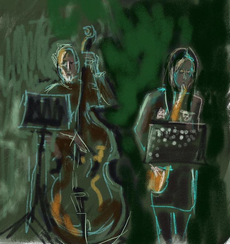 Rapid sketch of David Hobbs  Double Bass and Tamasin Rearden on Sax, playing at Torfaen Jazz.
