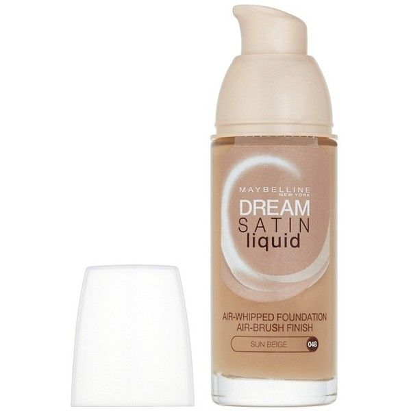 Maybelline Dream Satin Liquid Foundation (£6) ❤ liked on Polyvore featuring beauty products, makeup, face makeup, foundation, cream, sensitive skin foundation, make up purse, travel bag, liquid foundation and maybelline foundation