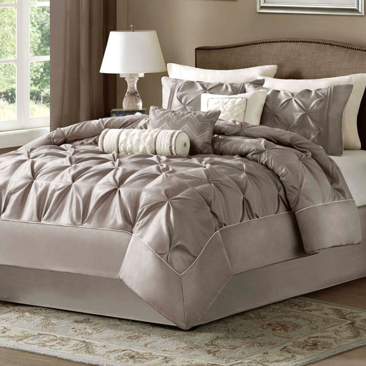 Best Taupe Bed Bag Luxury 7 Pc Comforter Set Cal King Queen 400 x 300