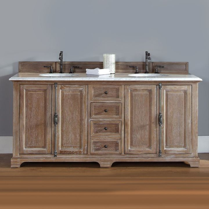 James Martin Providence 72-Inch Double Vanity with Carrara White Stone Top in Driftwood
