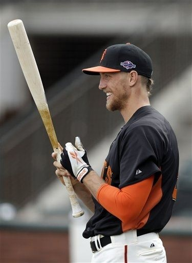 San Francisco Giants' Hunter Pence smiles as he readies for batting practice during baseball practice, Friday, Oct. 5, 2012 in San Francisco. The Giants host the Cincinnati Reds in Game 1 of the National League division series on Saturday.