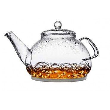 Čajník sklonerezový 1l. Elegantný štýlový čajník vyrobený z tvrdeného borosilikátového skla a nerezu. Výška: 16cm, šírka: 13cm, objem: 800ml, farba: číra.
