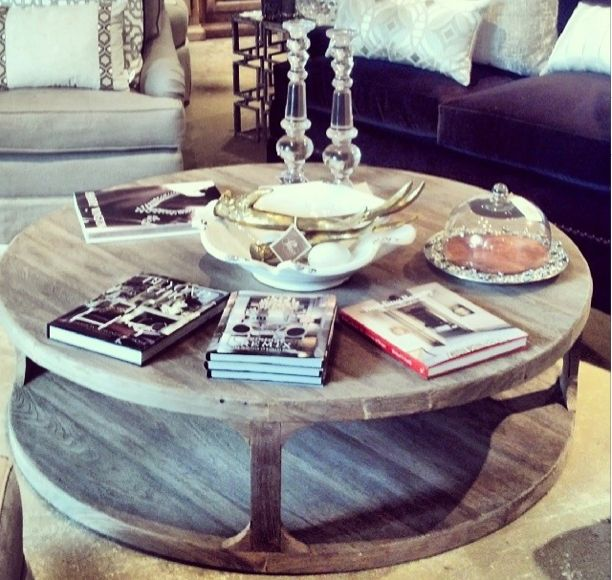 Circular Rustc Wooden Coffee Table   Like This But It Would Need To Be On  Wheelsu2026