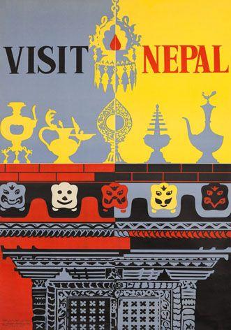 Vintage Travel Poster Visit Nepal Asia