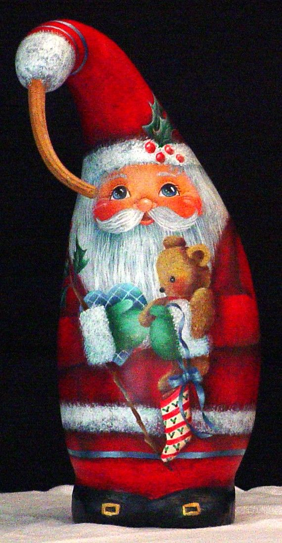 Special Delivery - Hand Painted Santa Gourd