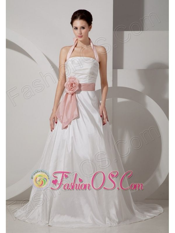 Low cost a line halter wedding dress court train taffeta for Wedding dresses low cost