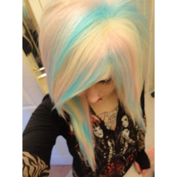 Items similar to rainbow pastel blue pink blonde white wig// emo girl... ❤ liked on Polyvore featuring beauty products, haircare, hair styling tools, hair and hairstyle