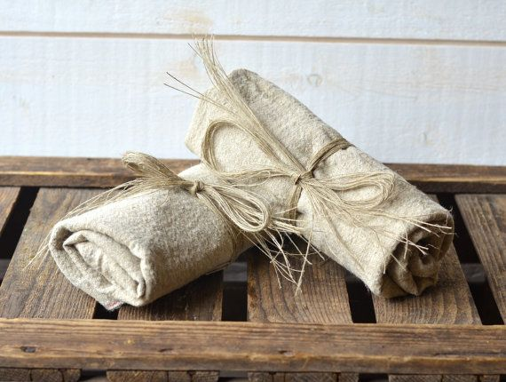 NATURAL linen tea towels French country / shabby chic by ikabags