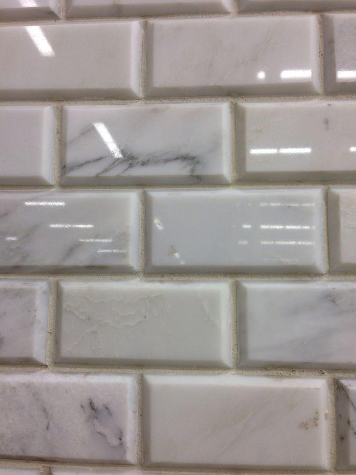 marble subway tile beveled master redo pinterest