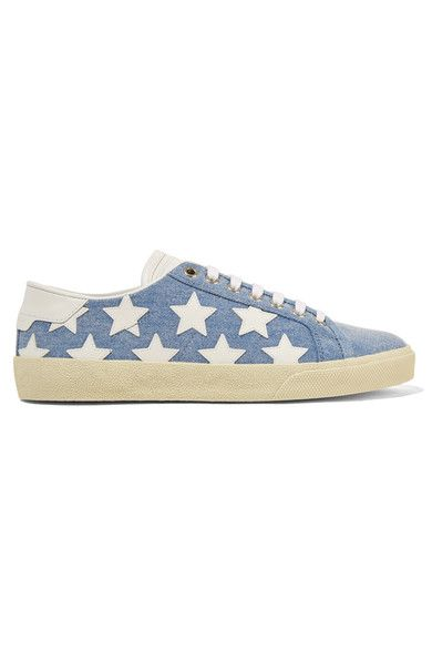 Off-white rubber sole measures approximately 25mm/ 1 inch Blue denim, white leather Lace-up front Made in Spain