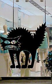 αυτοκόλλητα τοίχου στυλ αυτοκόλλητα τοίχου αυτοκόλλητα Απόκριες θρίλερ PVC γάτα τοίχο