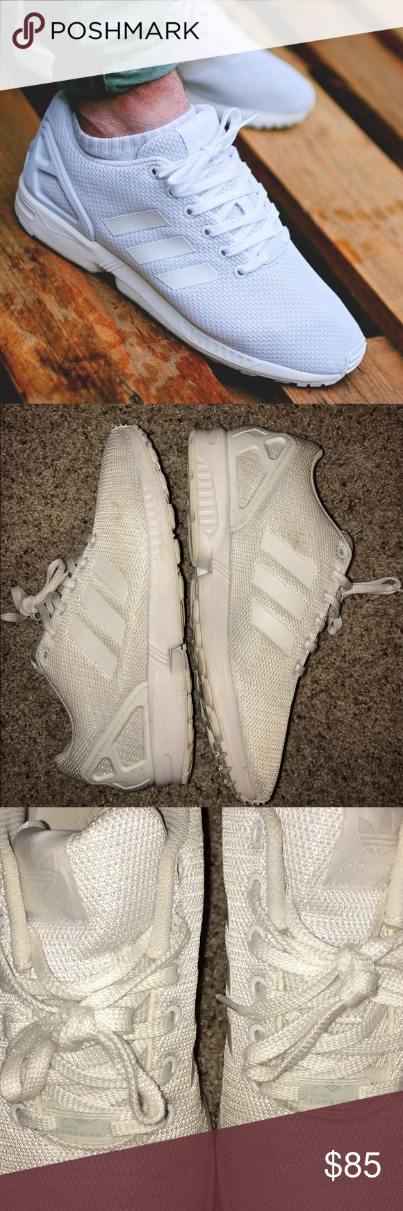 Adidas ZX Flux Men's size 11, white, no flaws other than a few small marks on the mesh. Could be cleaned. Worn 2x. Adidas Shoes Sneakers