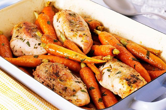 The secret to tender, juicy, delicious Roast Chicken Breasts with Carrots? Bake them with a mixture of Italian dressing and fresh lemon juice.