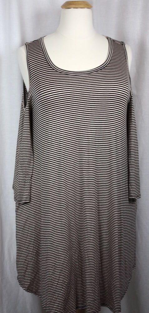 Oddy Women Cold Shoulder Long Sleeve Stretch Knit Striped Plus Size Dress 3X NWT #Oddy #Versatile