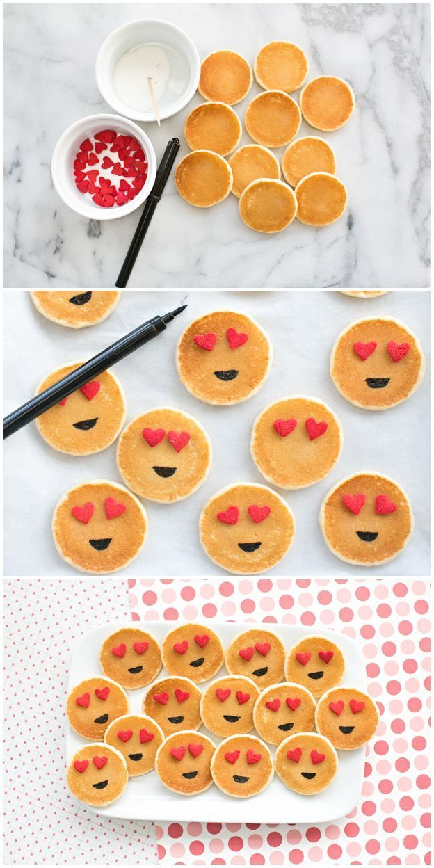 Easy Mini Emoji Pancakes Cute Breakfast Idea For Kids In 2020 Cute Breakfast Ideas Breakfast For Kids Mini Pancakes