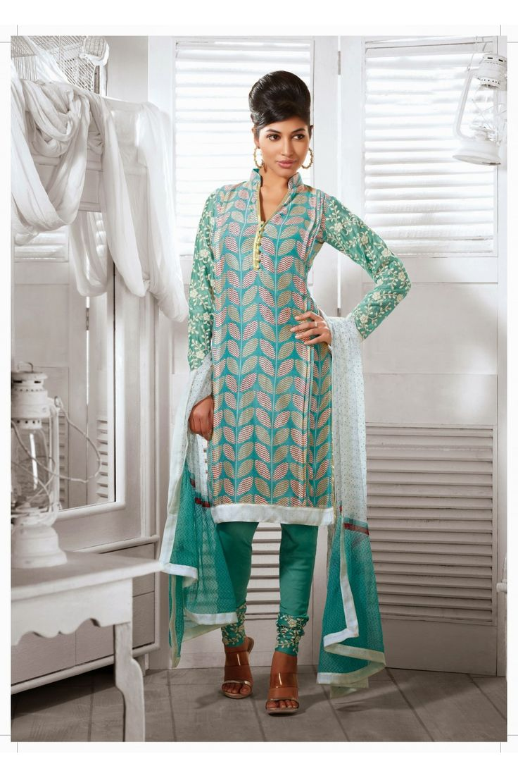 Fancy Cyan Blue Salwar Kameez :- Simple yet graceful design will make you an icon of beauty with this blue cotton silk suit. This suit is prettified with exclusive decorative pattern enhanced with lace and attractive resham work on full sleeves looks perfect. It comes with santoon and dupatta. - See more at: http://www.daindiashop.com/suits/fancy-cyan-blue-salwar-kameez-dis-diff-36392#sthash.ijZvEpGi.dpuf
