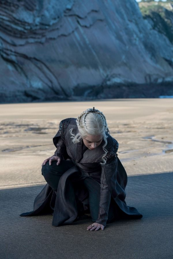 Emilia Clarke as Daenerys Targaryen touches Westeros. Photo: HBO / Helen Sloan