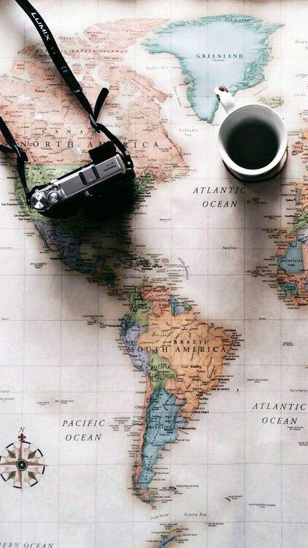 World Map Travel Plans Camera Coffee iPhone 6 Wallpaper