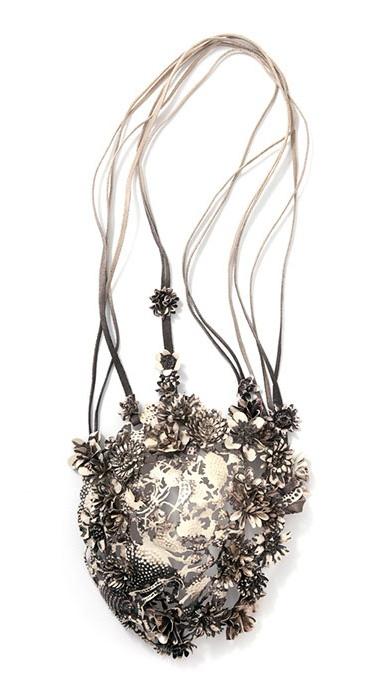 "Necklace | Hanna Hedman. ""Black Bile"". 2013. Silver, leather, copper, steel, paint"